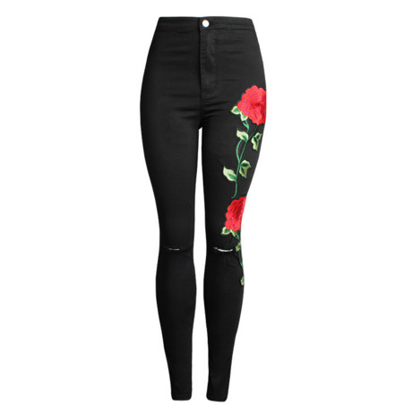 New Ladies Clothing Denim Skinny Ripped Full Length Pants Hot Stylish Embroidery Women Pencil Stretch High Waist Jeans Trousers 2017 spring new women sweet floral embroidery pastoralism denim jeans pockets ankle length pants ladies casual trouse top118