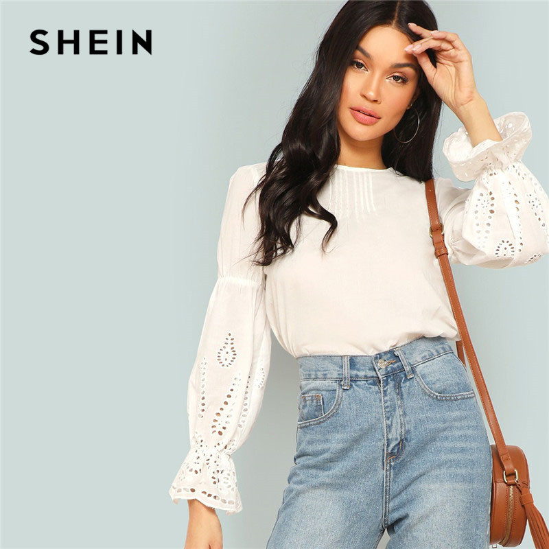 SHEIN Trendy Woman Flounce Sleeve Laser Lower Shirt Ladies Spring Highstreet Informal Tops 100% Cotton Woman Clothes Style Tops Blouses & Shirts, Low cost Blouses & Shirts, SHEIN Trendy...