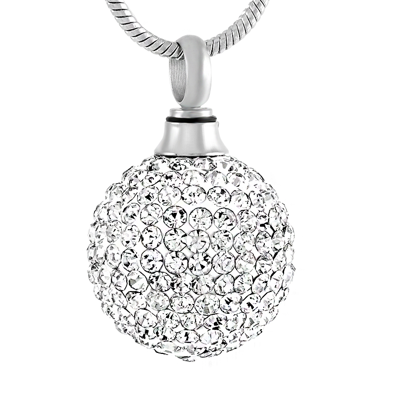 Colorfly Crystal Ball Cremation Urn Necklace Women Charm Stainless Steel Funeral Keepsake Jewlery Ashes Necklace Free