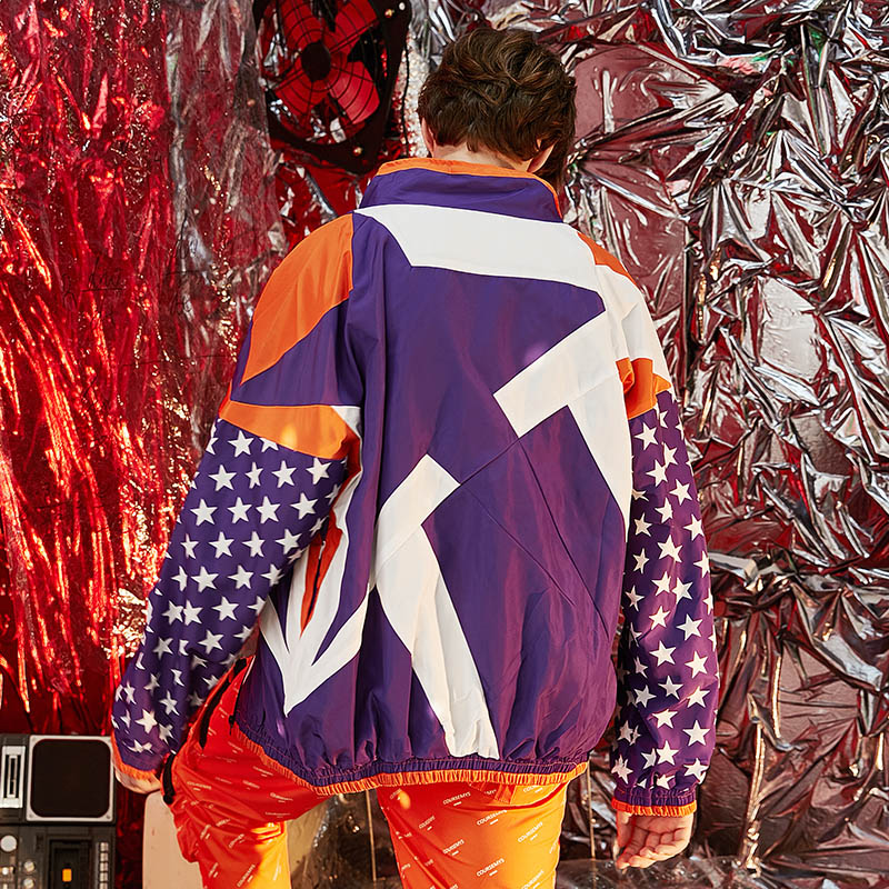 Mens Hip Hop Jackets Windbreaker Oversized Vintage Embroidery Jacket Coat Streetwear Casual Purple Star Track Jacket Autumn 2018