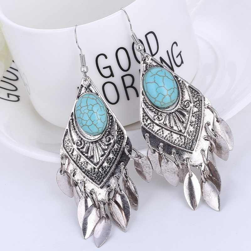 2018 Retro New Bohemian Earrings Ethnic Big Tassel Enamel Vintage Earrings for Women Pendientes Mujer Moda Oorbellen Boucle