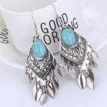 2018 Retro New Bohemian Earrings Ethnic Big Tassel Enamel Vintage Earrings for Women Pendientes Mujer Moda Oorbellen Boucle(China)
