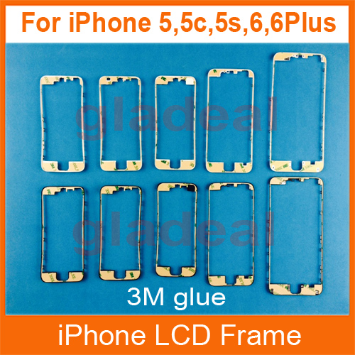 20PCS Front LCD Touch Screen Bezel Frame With 3M Glue adhesive tape supporting bracket Holder For iPhone 4 4s 5 5s 5c 6 Plus lcd screen assembly for apple iphone 4 4g lcd display touch screen digitizer pantalla with frame bezel replacement black white