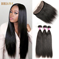 Stema Hair With Frontal Closure Brazilian Virgin Hair With Lace Frontal Ear To Ear 3 Bundles Straight Human Hair With Closure