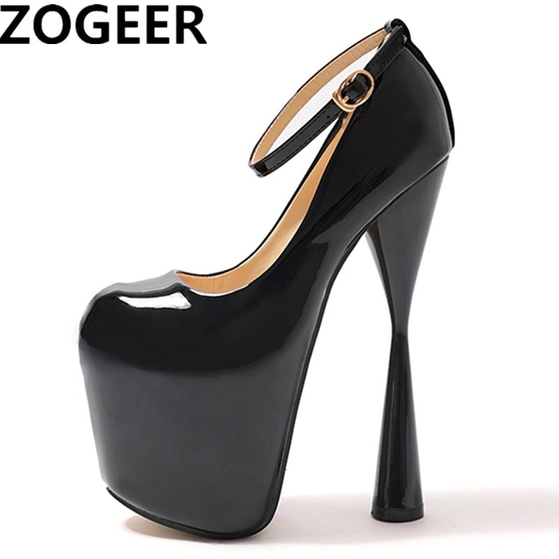Plus Size 47 Fashion Women Pumps Round Toe Platform Extreme High Heels 19CM Nightclub Evening Party