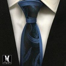 Новейший модный тонкий мужской галстук высокого уровня высококачественный плетёный черный с синими полосками Gravata