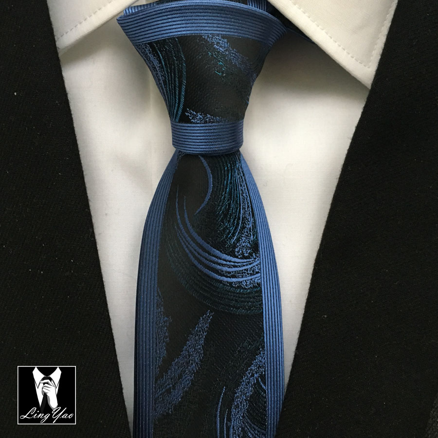 Latest Fashion Slim Tie Mens High Level Necktie High Quality Woven Gravata Black with Blue Stripes