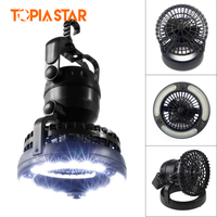 TOPIA STAR Camping Lantern And Ceiling Fan Portable 2 In 1 Tent LED Light Emergency Light