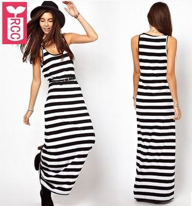 Rcc 2018 Ladys High Quality Sleeveless Black White Stripes Long