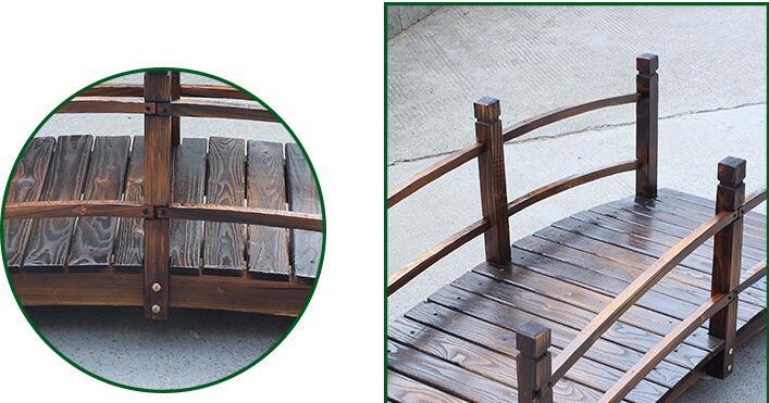 Massieve decoratieve tuin houten brug stained afwerking
