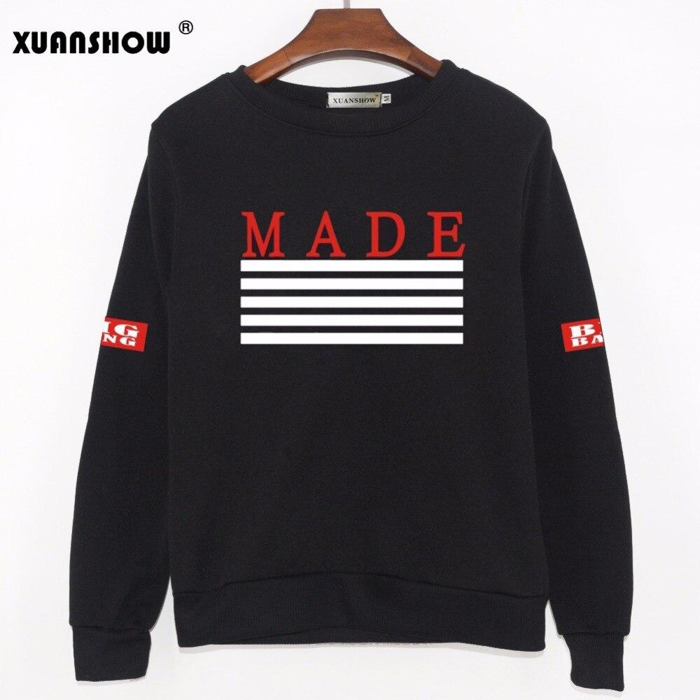 XUANSHOW Women KPOP Bigbang Hoodies Printed MADE Album Fleece Pullovers BTS Fans Clothing Hip Hop Autumn Winter Sweatshirt
