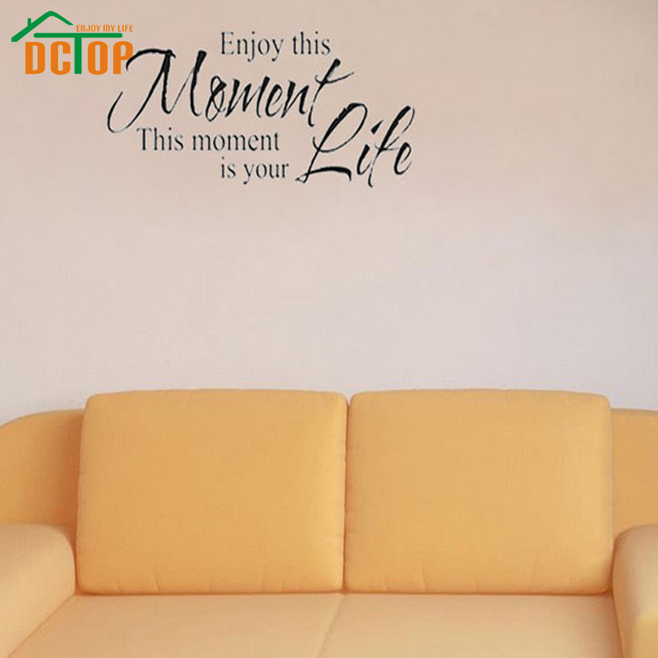 DCTOP Enjoy This Moment Is Your Life Wall Stickers Retro Phrases ...