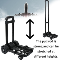 KKMOON Portable Foldable Luggage Shopping Travel Cart Flatbed Trailer Trolley Barrow with Black Pull Rod