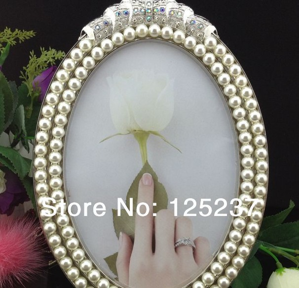 free shipping wholesale 12 pieceslot 8x10 photo frame oval metal pearl decorative