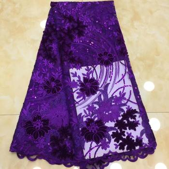 popular velvet style  high quality african net tulle lace fabric  with sequins embroidered velvet cloth for dress  XZXJUN251