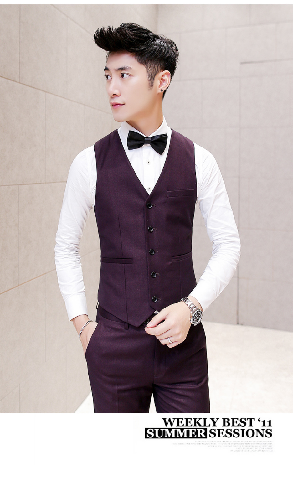 54776bd62 Men Suit Vest Wedding Slim FIt Burgundy Sleeveless Jacket Waistcoat ...