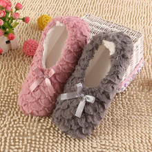 2016 Fashion Plush Women Indoor Slippers Warm Soft Pink Grey Indoor/Home Female Slippers Shoes Plus Size Autumn Winter XP35