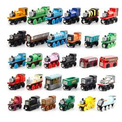 Деревянный магнитные поезда игрушечные лошадки трек железной дороги игрушечные транспортные средства деревянный локомотив автомобили