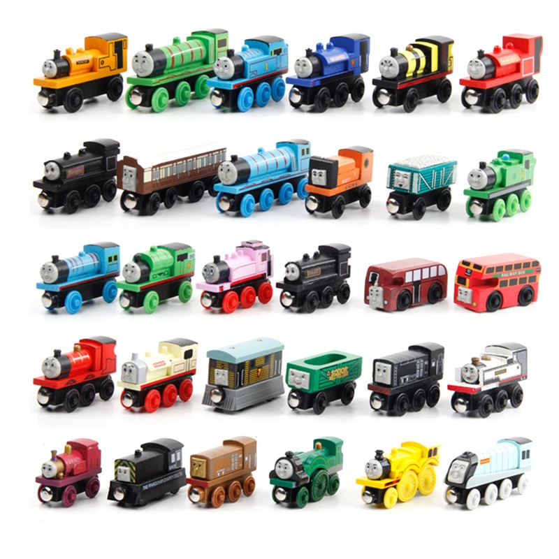 Wooden Magnetic Trains Toys Track Railway Vehicles Toys Wood Locomotive Cars for Children Kids Gift Trains Model image