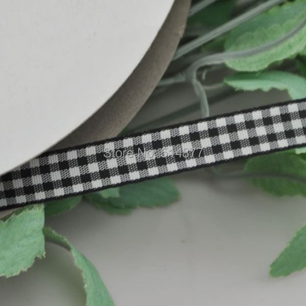 Upick 3 8 10mm Black One Roll font b Tartan b font Plaid Ribbon Bows Appliques