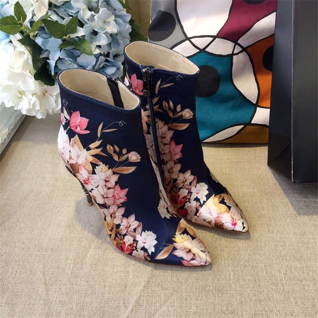 9ef9e7b06538 Pink Blue Silk Prints Floral Rose Gold Thin High Heels Women Ankle Boots  Stiletto Sexy Ladies Pumps Hot Sexy Celebrity Botas