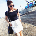 Summer Fashion Sexy Off The Shoulder Striped Knitting Tops For Women Slash Neck Short Sleeve Knitted T-shirts Women Tops