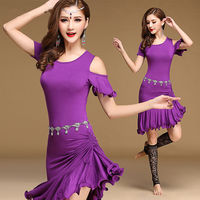 2017 Fashion Dancewear V Neck Dress Belly Dance Clothing Women Dance Sexy Outfits Dresses Girls Belly