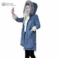 New Fur Collar Hooded Denim Parka Lambwool Winter Jacket Woman Coat Female Long Thick Warm Loose Outerwear Clothing 2019 Okd389