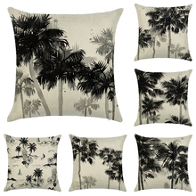 Morden Ink-painting Cotton Linen cushion cover for sofa Beige Printed home decorative pillowcase tropical Square pillow cover modern style leaves ink painting pattern square shape pillowcase