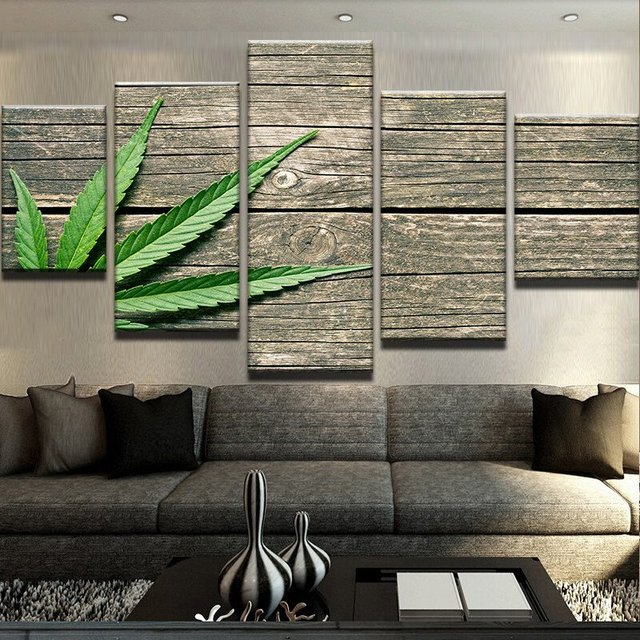 5 Panel Weed On Wood Canvas Printed Pictures Modern Decoration Wall