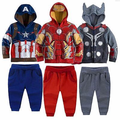 2 pcs Baby Boy Superhero Crianças Hoodies Calças Jaqueta Moletom Com Capuz Outfits 2-8A