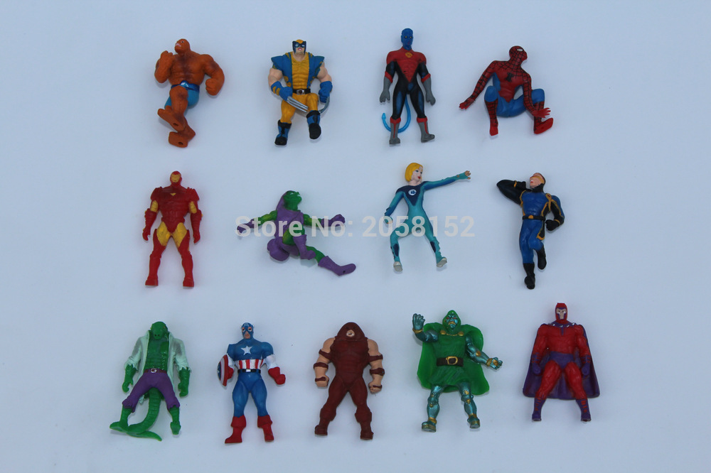 Hot 50pcs mini 4cm Marvel The Avengers Super Hero Captain Batman Figure Doll Action Kids Children Toy Home Decor Gift