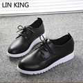 LIN KING Women Casual Shoes Leisure Lace Up Wedge Shoes Fashion Low Top Massage Ankle Shoes Solid Massage Outdoor Single Shoes