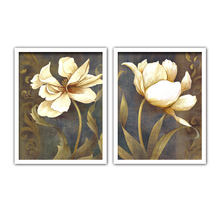 TOP SALE 2 Piecest/Set Beautiful white gold flower series Canvas Painting Sitting Room Decoration Print Pictures No Framd