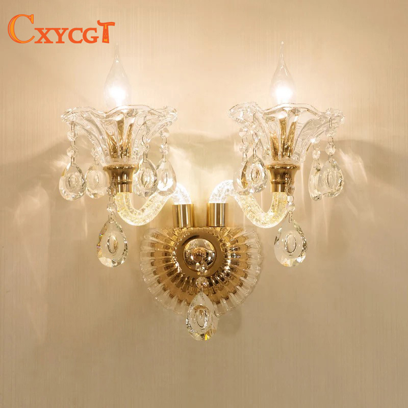 Modern Crystal Glass Lampshade Bedside Gold Wall Lamp Living Room Wall Light Bedroom Luxury Elegant Wall Sconces contemporary elegant crystal drops wall light living room bedroom bedside lamp mirror hallway light fixtures wall sconces wl194