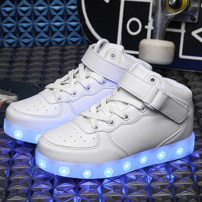 Size25-40 เด็ก LED รองเท้าเด็กเรืองแสงรองเท้าผ้าใบ Luminous sole Running รองเท้าไฟ krasovki backlight