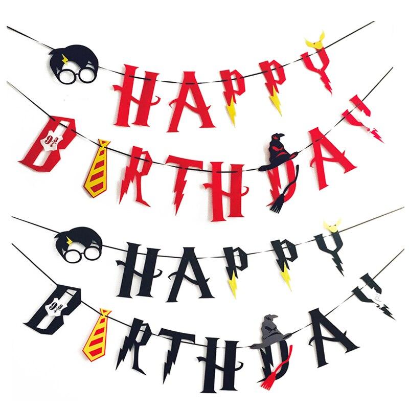 Harry Potter alles Gute zum Geburtstag Banner Hogwarts Blitz Filz - Partyartikel und Dekoration