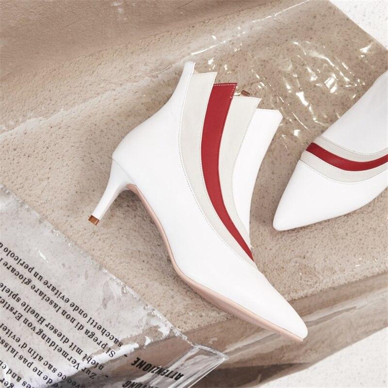 Short Msstor Automne Bottes Taille 43 Blanc Cheville Hiver Couleurs Talons Mélangées white Gros Black noir blanc Plus Chaussures Stiletto Plush Haute Plush Femmes 33 WH9YED2I