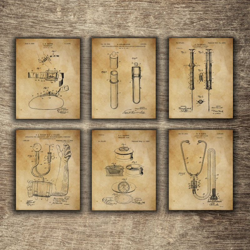Vintage Medical Equipment Patent Blueprint Posters And Prints Medicine Wall Art Canvas Painting Doctor Gift Clinic Decor