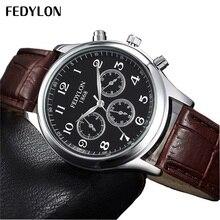 Relogio Masculino FEDYLON Fashion Mens Watches Top Brand Luxury Leather Strap Men Women Quartz Wrist Watches Montre Homme