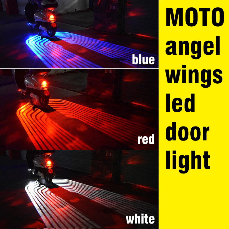 OKEEN 2pcs 12V LED Moto Car Angel LED Wings Lights LED Welcome Car Door Projector Light Ghost Shadow Puddle Moto White /Red/Blue