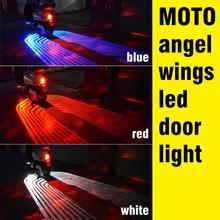 OKEEN 2pcs 12V LED moto Auto di Angelo LED Ali di luci A LED di benvenuto del Portello di Automobile Proiettore di Luce Dellombra Del Fantasma pozzanghera moto Bianco/Rosso/Blu