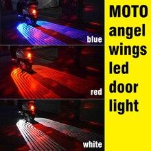 Okeen led para moto de anjo de carro, 2 peças, 12v, luzes de led, bem vindo, para porta de carro, projetor, sombra fantasma puddle moto branco/vermelho/azul