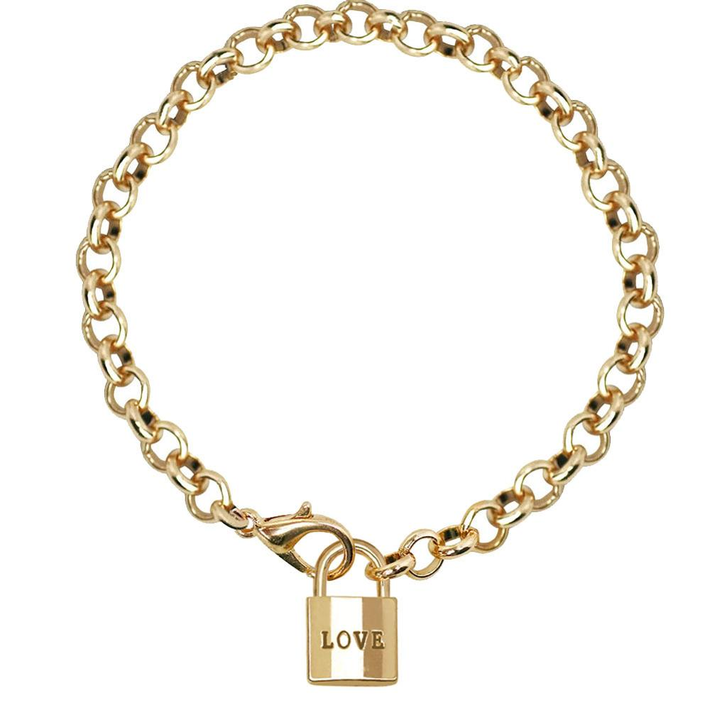 57f79b9b60aa3 US $1.78 10% OFF|Tiny Love Lock Charm Bracelets Femme Gold Chain Link  Bracelet Summer For Women Dainty Jewelry Bridesmaid Gifts 2018-in Chain &  Link ...