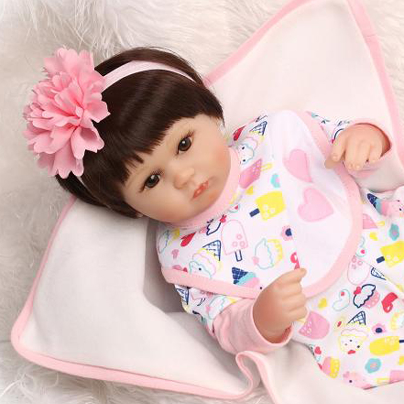 18inch Baby Reborn Girl Doll Handmade Silicone Vinyl Newborn Baby Doll  Kids Toys Birthday Gift boneca18inch Baby Reborn Girl Doll Handmade Silicone Vinyl Newborn Baby Doll  Kids Toys Birthday Gift boneca