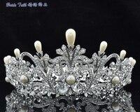 2014 New Fashion Bridal Australian Crystal Flower Pearl Crown Tiara For Women Wedding Prom Pageant SHA8646