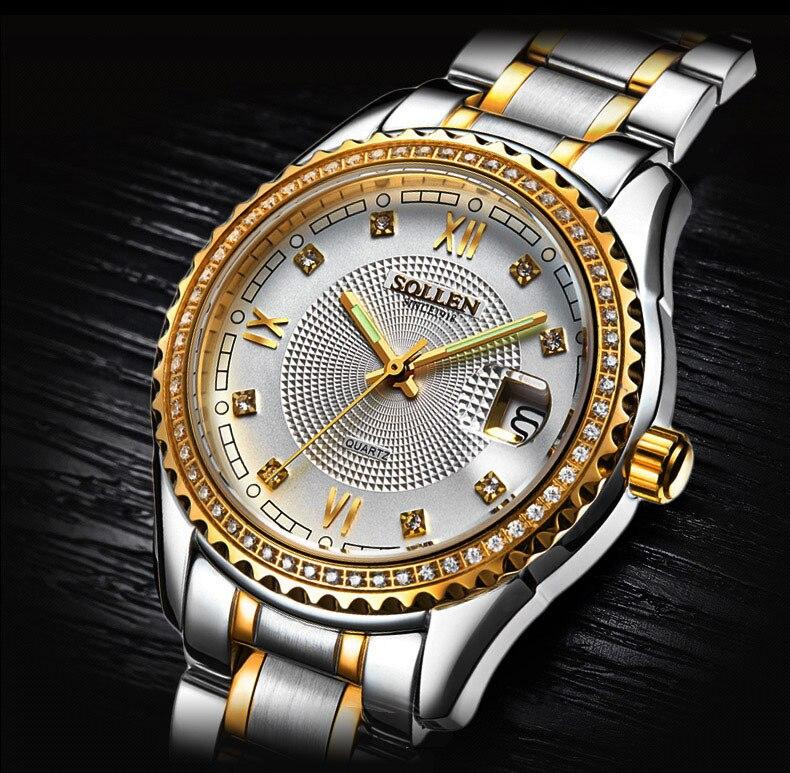 SOLLEN watch men s fashion business waterproof steel quartz watch luminous watch gold diamond among flour