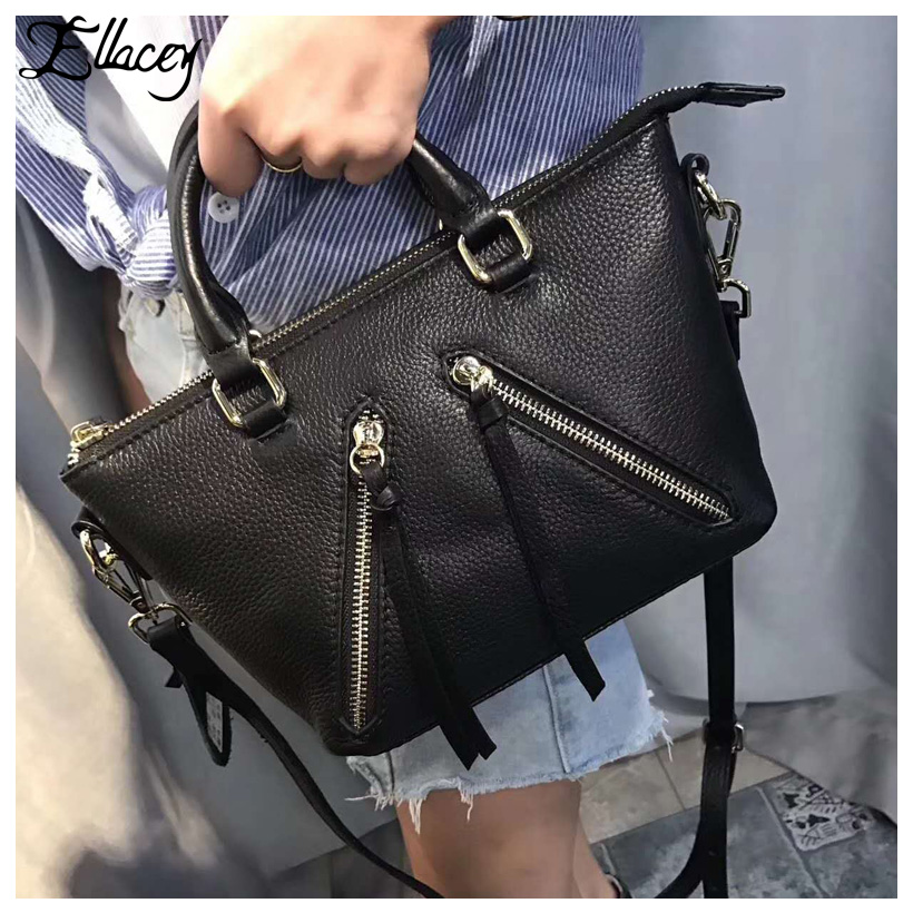 цена на New 2018 Genuine Leather Women Bag Cow Leather Trapeze Crossbody Shoulder Bag Brand Designer Handbag Lady Small Messenger Bags