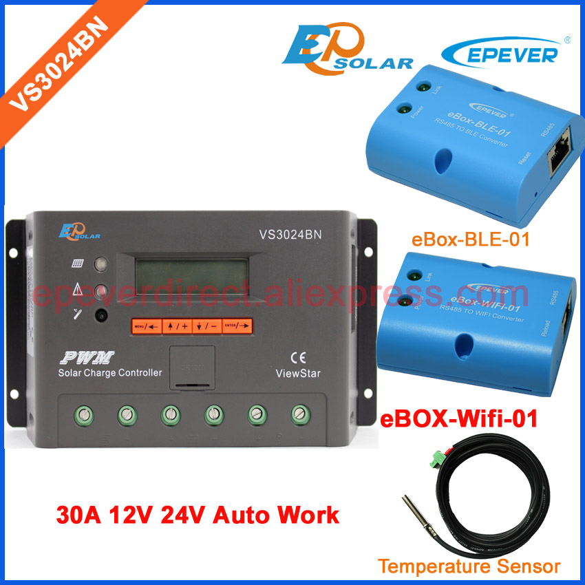 Solar PV PWM controller VS3024BN 30A wifi BOX Temp Sensor cable EPEVER 30amps 12V 24V Auto Work bluetooth function 20a solar power bank charging controller tracer2215bn temperature sensor and bluetooth function 20amp 12v 24v auto work