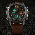 Бренд NAVIFORCE  Роскошные мужские часы с двойным дисплеем  мужские военные спортивные кварцевые часы  задняя подсветка  кожа  Relogio Masculino